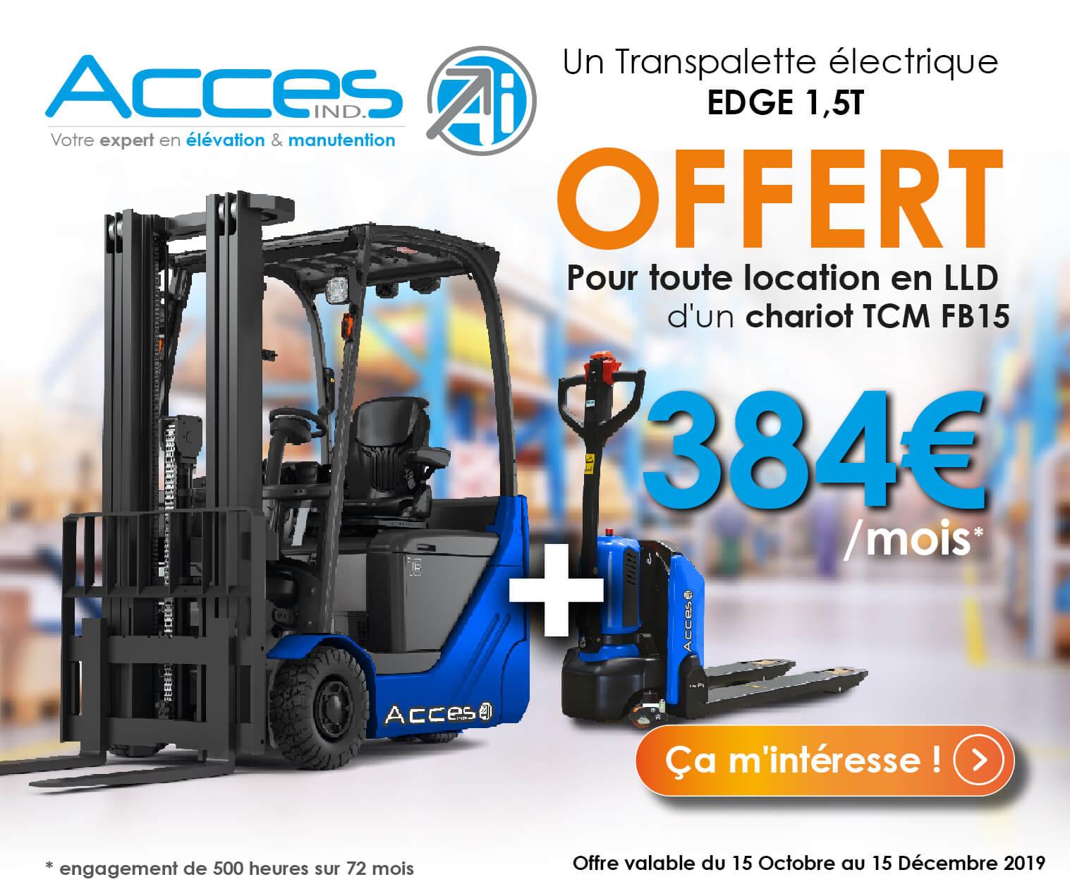 Chariot industriel électrique en location longue durée + transpalette électrique offert